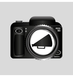 Digital photo camera megaphone vector