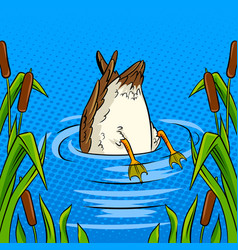 duck dives into the pond pop art vector image