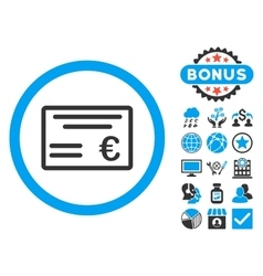 Euro cheque flat icon with bonus vector