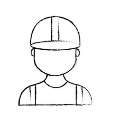 Figure profesional man worker with cap and clothes vector