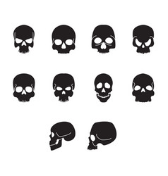 flat black home skull icon set vector image