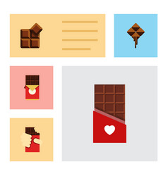 Flat icon cacao set of shaped box delicious vector