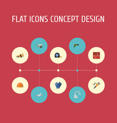 Flat icons pipeline valve faucet handcart vector