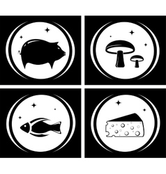 Food black icons set vector