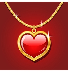 Golden necklace with ruby heart vector image