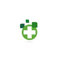 Green cross logo eco healing herbs pharmacy vector
