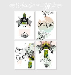 Hand made abstract graphic save the date vector