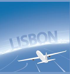 Lisbon skyline flight destination vector