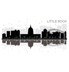 little rock city skyline black and white vector image vector image