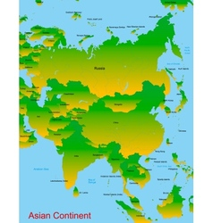 Map of asian continent vector image vector image