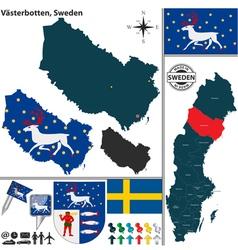 Map of Vasterbotten vector image vector image