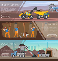 Mining industry horizontal flat banners vector