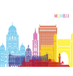 mumbai skyline pop vector image