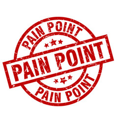 Pain point round red grunge stamp vector
