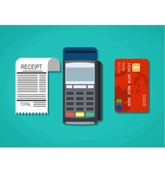 Pos terminal paper receipt and debit credit vector