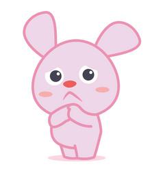 Sad bunny cartoon character collection vector