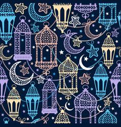 seamless pattern of ramadan kareem lanterns happy vector image