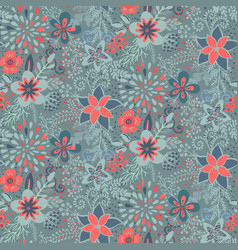 Seamless pattern with beautiful flowers and vector