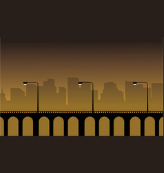 Silhouette of lined lamp on bridge landscape vector