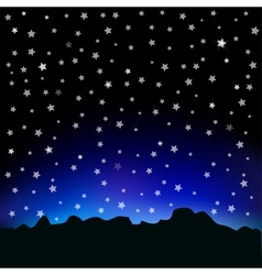 Starry sky and mountain landscape vector image