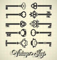 Vintage key silhouettes vector