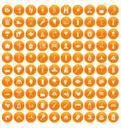 100 fire icons set orange vector
