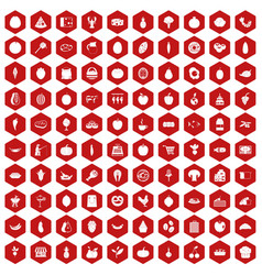 100 natural products icons hexagon red vector