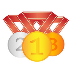 Set of winner medals first second third place vector