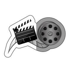 Sticker with cinematography movie video film tap vector