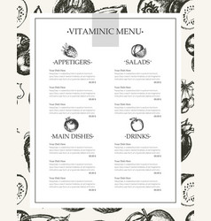 Vitaminic column menu - modern hand drawn vector