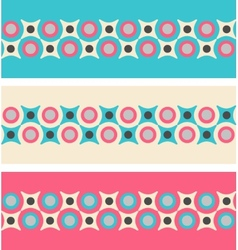 Set of seamless patterned borders in retro colors vector image