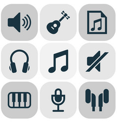 Multimedia icons set collection of sound earmuff vector