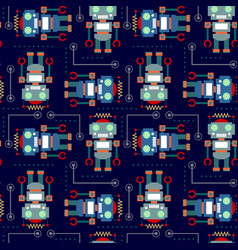Seamless pattern robot vector