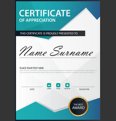 Blue polygon elegance vertical certificate with vector