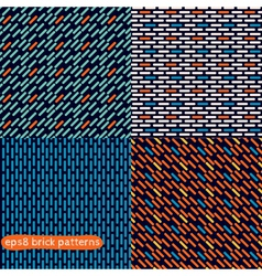 Four simple abstract seamless brick patterns vector