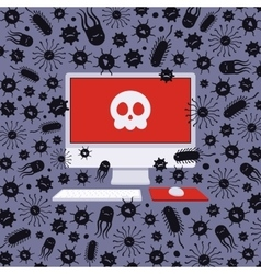 Computer captured by viruses vector