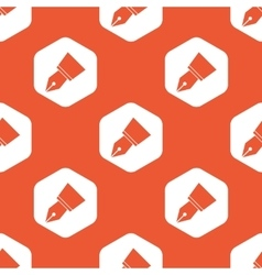 Orange ink pen nib pattern vector