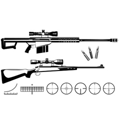 Set of firearms sniper rifles and targets vector