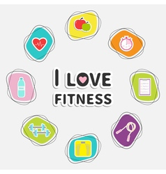 I love fitness icon set isolated round frame timer vector