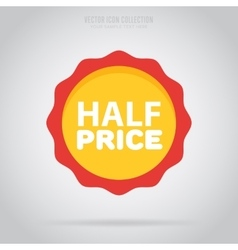 Advertisement half price sticker isoalted vector