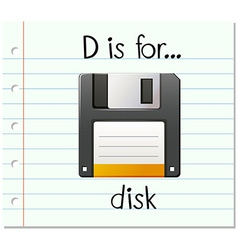 Flashcard letter d is for disk vector