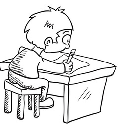 Black and white boy doing homework vector