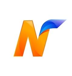 N letter blue and orange logo design fast speed vector