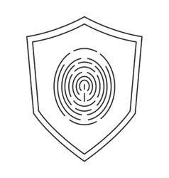 Shield with fingerprint icon vector