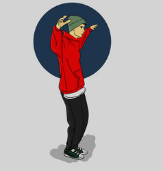 A guy in a green hat and red hoody dancing on a vector