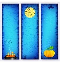 Blue Halloween banners backgrounds set vector image vector image