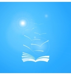 Book in blue sky with seagulls and sun vector