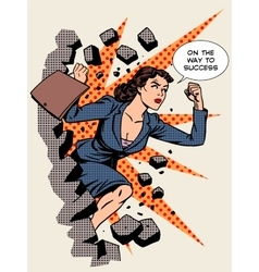 Business success businesswoman breaks the wall vector