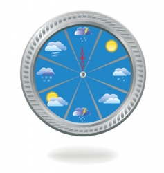 clock with weather icons vector image