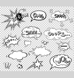 Comic speech bubbles set wording sound effect vector